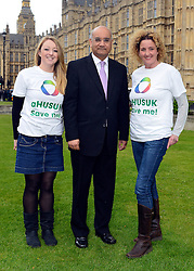 © Licensed to London News Pictures. 14/05/2013. Westminster, UK Elena Lilley, Keith Vaz MP, Emma Woodward. Patients campaigning for a life-saving treatment to be made available for all sufferers of the rare blood disease atypical Haemolytic Uraemic Syndrome (aHUS) present an urgent petition with over 30,000 signatures to MPs at the House of Commons on Tuesday May 14 2013... Photo credit : Stephen Simpson/LNP
