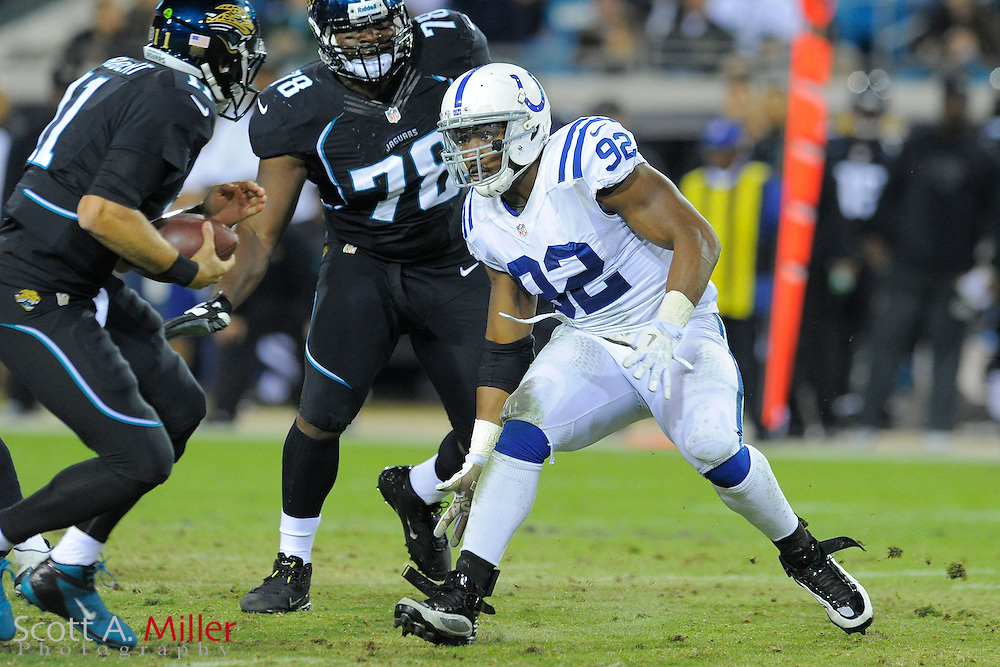 Indianapolis Colts outside linebacker Jerry Hughes (92) during the Colts 27-10 win over the Jacksonville Jaguars at EverBank Field on November 8, 2012 in Jacksonville, Florida.  The Colts won 27-10. .©2012 Scott A. Miller..