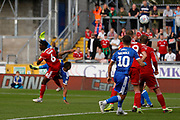 Bristol Rovers forward Jonson Clarke-Harris scores a goal with an overhead kick during the EFL Sky Bet League 1 match between Bristol Rovers and Accrington Stanley at the Memorial Stadium, Bristol, England on 7 September 2019.