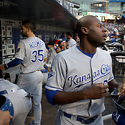NEW YORK, NEW YORK - June 21: Lorenzo Cain #6 of the Kansas City Royals heads out of the dugout to bat during the Kansas City Royals Vs New York Mets regular season MLB game at Citi Field on June 21, 2016 in New York City. (Photo by Tim Clayton/Corbis via Getty Images)