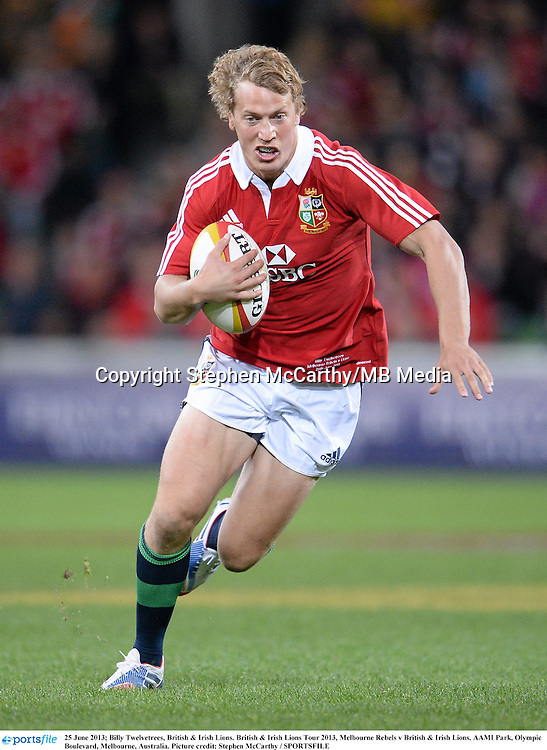 25 June 2013; Billy Twelvetrees, British & Irish Lions. British & Irish Lions Tour 2013, Melbourne Rebels v British & Irish Lions. AAMI Park, Olympic Boulevard, Melbourne, Australia. Picture credit: Stephen McCarthy / SPORTSFILE