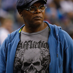 January 17, 2011; New Orleans, LA, USA; Hollywood actor Samuel L. Jackson is seen during the first half of a game between the New Orleans Hornets and the Toronto Raptors at the New Orleans Arena.   Mandatory Credit: Derick E. Hingle