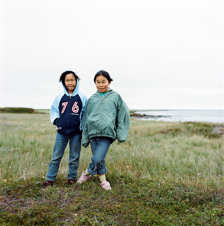 Hanna and Sabrina in Newtok, Alaska. 2008