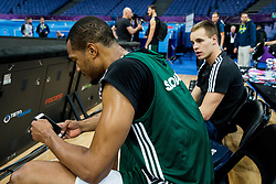 Anthony Randolph of Slovenia and Klemen Prepelic of Slovenia at training session during of the FIBA EuroBasket 2017 at Hartwall Arena in Helsinki, Finland on September 4, 2017. Photo by Vid Ponikvar / Sportida