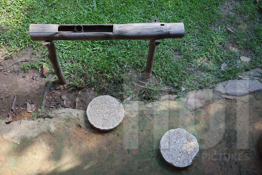 Water bamboo tank. Ethnology museum, Hanoi, Vietnam, Asia.