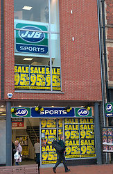 JJB Sports sale; facade of shop; Broad Street; Reading; Dec, 2008