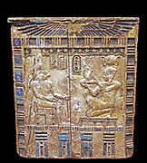 Back of an altar gilded and inlaid wood. Ancient Egyptian
