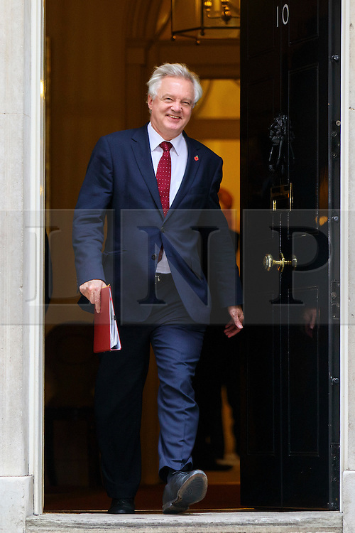 © Licensed to London News Pictures. 15/11/2016. London, UK. Secretary of State for Exiting the European Union DAVID DAVIS attends a cabinet meeting in Downing Street on Tuesday, 15 November 2016. Photo credit: Tolga Akmen/LNP