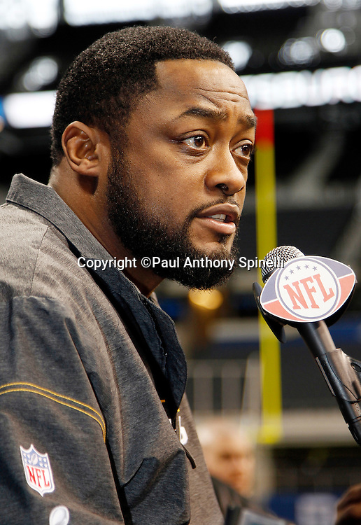 Pittsburgh Steelers head coach Mike Tomlin speaks to the press at Super Bowl XLV media day prior to NFL Super Bowl XLV against the Green Bay Packers. Media day was held on Tuesday, February 1, 2011 in Arlington, Texas. ©Paul Anthony Spinelli