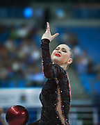Alina Maksimenko during final at ball in the Pesaro World Cup at the Adriatic Arena in Pesaro, Italy on 28 April 2013.<br />