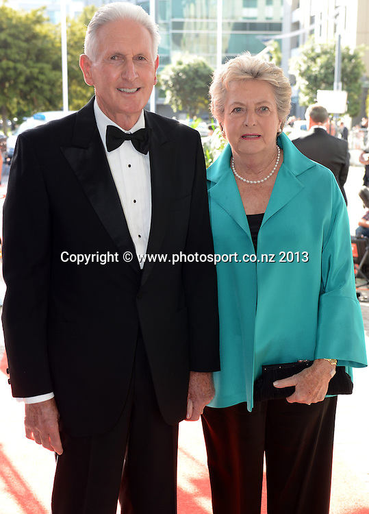 Sir Bob Charles and wife Verity pose for a picture on the red carpet ahead of the Westpac Halberg Awards for 2012 at Vector Arena, Auckland, New Zealand on Thursday 14 February 2013. Photo: Andrew Cornaga / photosport.co.nz