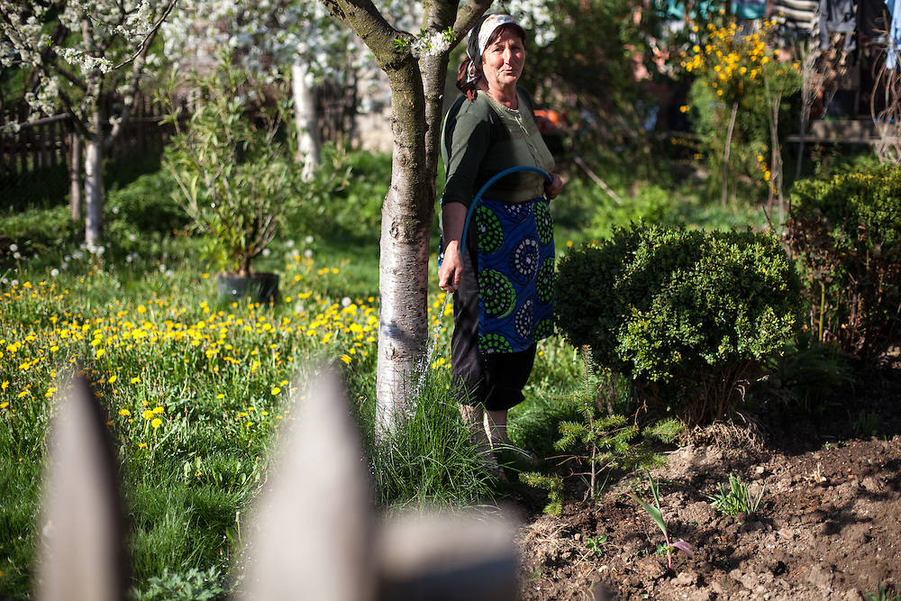 Woman watering her garden at the Roma part in the city of Crnik.