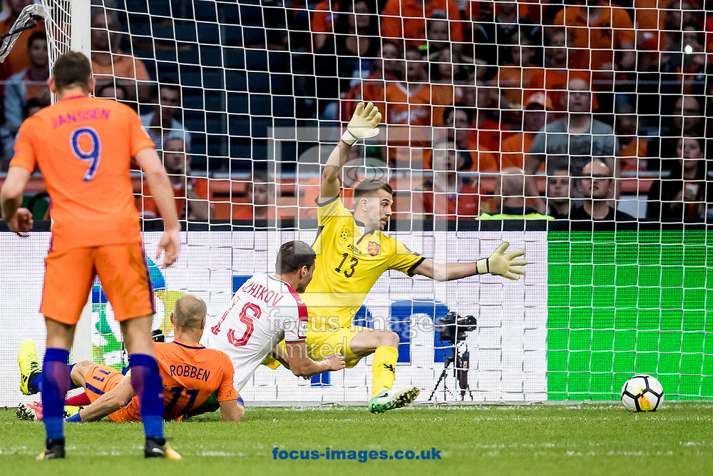Arjen Robben of Netherlands (2L) scores 2-0, Plamen Iliev of Bulgaria (R), Vasil Bozhikov of Bulgaria (M) during the 2018 FIFA World Cup Qualifying match at Amsterdam Arena, Amsterdam<br /> Picture by Joep Joseph Leenen/Focus Images Ltd +316 5261929<br /> 03/09/2017<br /> ***NETHERLANDS OUT***
