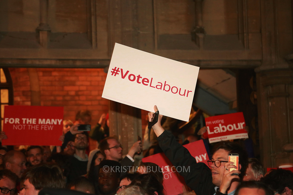 Labour and Jeremy Corbyn supporters gather outside the Union Chapel in Islington for Corbyn's 90th and last campaign speech.