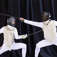 Nederland, Almere, 16 april 2017.<br /> Daan Weber (links) en Quincy Dualeh in actie tijdens het NK schermen in het topsportcentrum van Almere<br /> <br /> <br /> Foto: Jean-Pierre Jans