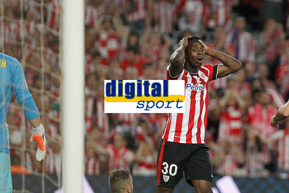 Athletic de Bilbao´s Inaki Williams Dannis reacts after missing a goal chance during 2014-15 Copa del Rey final match between Barcelona and Athletic de Bilbao at Camp Nou stadium in Barcelona, Spain. May 30, 2015. (ALTERPHOTOS/Victor Blanco)
