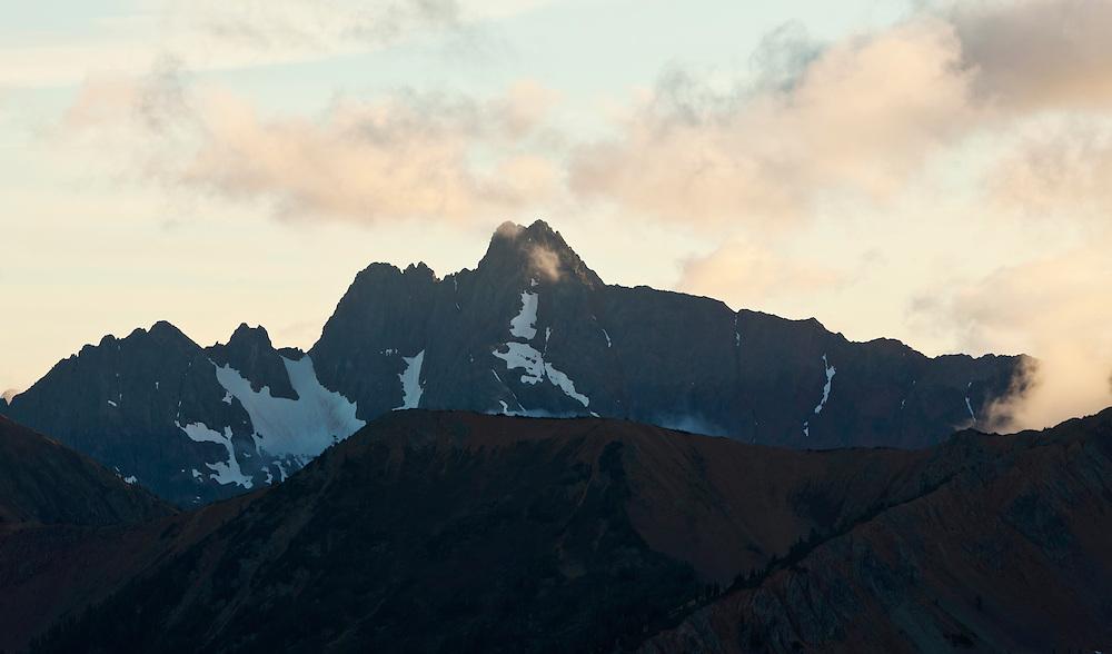 Azurite Peak in the North Cascades at sunset.  Washington, USA.