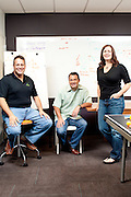 Kabbage Co-Founders Marc Gorlin (green), Kathryn Petralia, and CEO Rob Frohwein pose inside of their Atlanta, Georgia office September 12, 2011. Kabbage helps fund online businesses...Kendrick Brinson/LUCEO