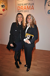 Left to right, PAULA DELLA VALLE and BARBARA DELLA VALLE at the TOD'S Art Plus Drama Party at the Whitechapel Gallery, London on 24th March 2011.