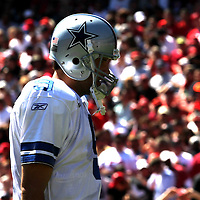Dallas Cowboys quarterback Tony Romo (9)  during an NFL football game between the Dallas Cowboys and the San Francisco 49ers at Candlestick Park on Sunday, Sept. 18, 2011 in San Francisco, CA   (Photo/Alex Menendez)