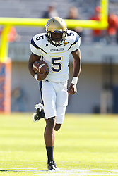 Oct 15, 2011; Charlottesville VA, USA;  Georgia Tech Yellow Jackets wide receiver Stephen Hill (5) warms up before the game against the Virginia Cavaliers at Scott Stadium.  Virginia defeated Georgia Tech 24-21.  Mandatory Credit: Jason O. Watson-US PRESSWIRE
