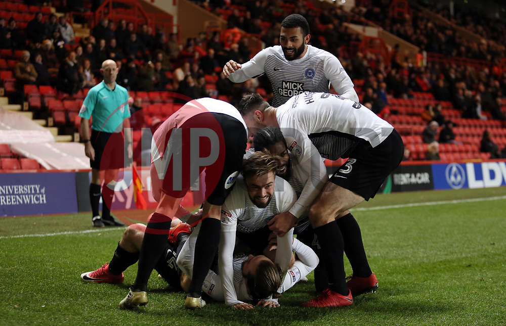 Jack Marriott of Peterborough United celebrates scoring his goal with team-mates - Mandatory by-line: Joe Dent/JMP - 28/11/2017 - FOOTBALL - The Valley - Charlton, London, England - Charlton Athletic v Peterborough United - Sky Bet League One