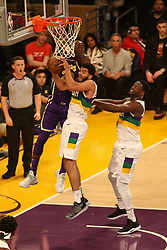 February 27, 2019 - Los Angeles, CA, U.S. - LOS ANGELES, CA - FEBRUARY 27: New Orleans Pelicans Forward Kenrich Williams (34) steals ball away from Los Angeles Lakers Forward LeBron James (23) during the first half of the New Orleans Pelicans versus Los Angeles Lakers game on February 27, 2019, at Staples Center in Los Angeles, CA. (Photo by Icon Sportswire) (Credit Image: © Icon Sportswire/Icon SMI via ZUMA Press)