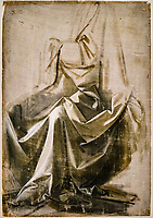 France, Paris, Musée du Louvre, Leonard de Vinci, Draperie Jabach XIII, figure assise // France, Paris, Louvre Museum, Leonardo da Vinci, Drapery Jabach XIII, seated figure
