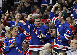 Nov 5, 2010; Newark, NJ, USA;  New York Rangers celebrate during the third period of the Rangers game against the New Jersey Devils at the Prudential Center. The Rangers defeated the Devils 3-0.