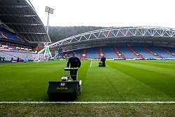 A general view of The John Smith's Stadium, home to Huddersfield Town as groundsmen work on the pitch - Mandatory by-line: Robbie Stephenson/JMP - 20/01/2019 - FOOTBALL - The John Smith's Stadium - Huddersfield, England - Huddersfield Town v Manchester City - Premier League