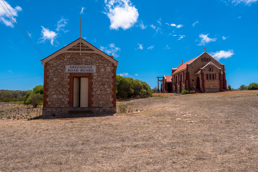 Greenough, Australia -- February 4, 2018. Two historic buildings in the restored town of Greenough, Australia. Editorial Use Only.