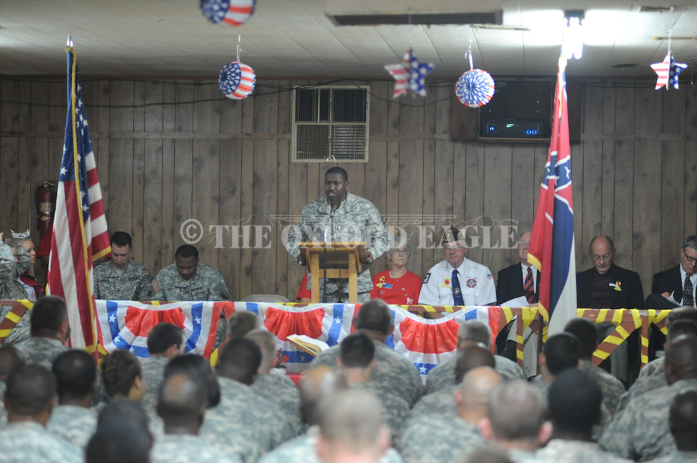 Cpt. Dameion Brown speaks during the 289th Engineer Battalion send off ceremony in Water Valley, Miss. on Sunday, May 6, 2012.
