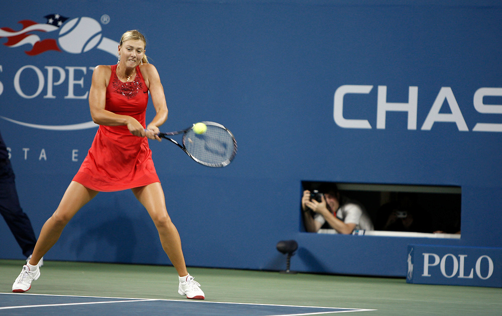Maria Sharapova of Rusia pictured during her second round match against Casey Bellacqua of Australia at the USTA Billie Jean King National Tennis Center on August 30, 2007 in the Flushing neighborhood of the Queens borough of New York City.