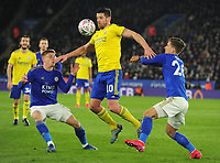 Football - 2019 / 2020 Emirates FA Cup - Fifth Round: Leicester City vs. Birmingham City<br /> <br /> Lukas Jutkiewicz of Birmingham holds off Harvey Barnes and Dennis Praet, at the King Power Stadium.<br /> <br /> COLORSPORT/ANDREW COWIE