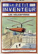 Autogiro (1928) designed by Spanish engineer Juan de la Cierva (Cordoniu) 1896-1936. From 'Le Petit Inventeur', Paris, 1928.