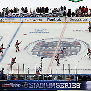 A panoramic view of Yankee Stadium during the New York Rangers Vs New Jersey Devils NHL regular season game held outdoors at Yankee Stadium, The Bronx, New York, USA. 26th January 2014. Photo Tim Clayton