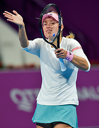 DOHA, Feb. 15, 2019  Angelique Kerber of Germany reacts during the women's singles quarterfinal between Barbora Strycova of the Czech Republic and Angelique Kerber of Germany at the 2019 WTA Qatar Open in Doha, Qatar, Feb. 14, 2019. Angelique Kerber won 2-1. (Credit Image: © Nikku/Xinhua via ZUMA Wire)