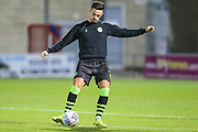 Forest Green Rovers Liam Shephard(2) warming up during the EFL Sky Bet League 2 match between Morecambe and Forest Green Rovers at the Globe Arena, Morecambe, England on 22 October 2019.