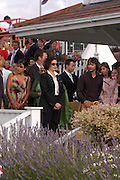 Bianca Jagger and James Blunt. Cartier International Day at Guards Polo Club, Windsor Great Park. July 24, 2005. ONE TIME USE ONLY - DO NOT ARCHIVE  © Copyright Photograph by Dafydd Jones 66 Stockwell Park Rd. London SW9 0DA Tel 020 7733 0108 www.dafjones.com