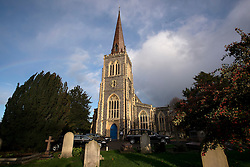 © Licensed to London News Pictures. 13/11/2015. London, UK. General view of St Mary's Church in Wimbledon. The funeral of former Labour MP Michael Meacher at St Mary's Church in Wimbledon, south west London.  Michael Meacher, who was a Labour MP in Oldham for over 40 years, served as Minister of State for the Environment in the Tony Blair government.  Photo credit: Ben Cawthra/LNP