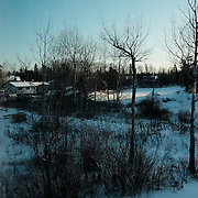 The view from a resident's living room at the Ochiichagwe'Babigo'Ining Ojibway Nation reserve (also known as the Dalles First Nation) in Northern Ontario, Canada on 15 December 2016.