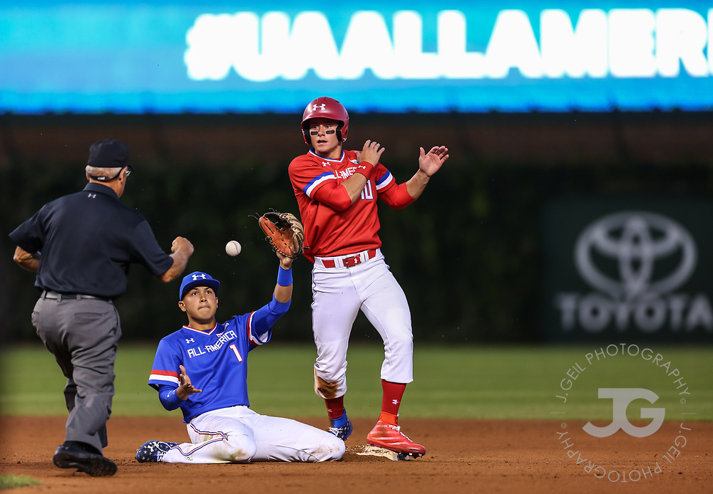 CHICAGO, IL - JULY 29:  Second baseman Kevin Vargas reacts after tagging out Jarred Kelenic during the Under Armour All-America Game at Wrigley Field on Saturday, July 29, 2017 in Chicago, Illinois. (Photo by J. Geil/MLB Photos via Getty Images) *** Local Caption ***