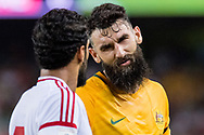 March 28 2017: Socceroos Mile JEDINAK (15) unhappy with United Arab Emirates Ali MABKHOUT (7) at the 2018 FIFA World Cup Qualification match, between The Socceroos and UAE played at Allianz Stadium in Sydney.