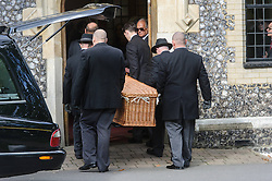 © Licensed to London News Pictures. 07/10/2014London, UK.  The coffin arrives for the funeral of singer Lynsey de Paul in Hendon, North London. Photo credit : Simon Jacobs/LNP