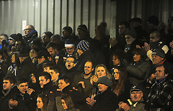 Bristol Rovers fans celebrate - Photo mandatory by-line: Neil Brookman/JMP - Mobile: 07966 386802 - 04/01/2015 - SPORT - football - Nuneaton - James Parnell Stadium - Nuneaton Town v Bristol Rovers - Vanarama Conference