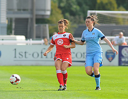 Bristol Academy Womens' Jemma Rose loses ball possession. - Photo mandatory by-line: Nizaam Jones- Mobile: 07583 387221 - 28/09/2014 - SPORT - Women's Football - Bristol - SGS Wise Campus - BAWFC v Man City Ladies - sport