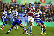 Reading Midfielder, Danny Williams (23) Aston Villa Forward, Rudy Gestede (14) and Reading Midfielder, George Evans (6) during the EFL Sky Bet Championship match between Reading and Aston Villa at the Madejski Stadium, Reading, England on 18 October 2016. Photo by Adam Rivers.