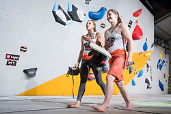Chloe Caulier (BEL) and Petra Klingler (SUI) at Fnal of Climbing event - Triglav the Rock Ljubljana 2018, on May 19, 2018 in Congress Square, Ljubljana, Slovenia. Photo by Urban Urbanc / Sportida