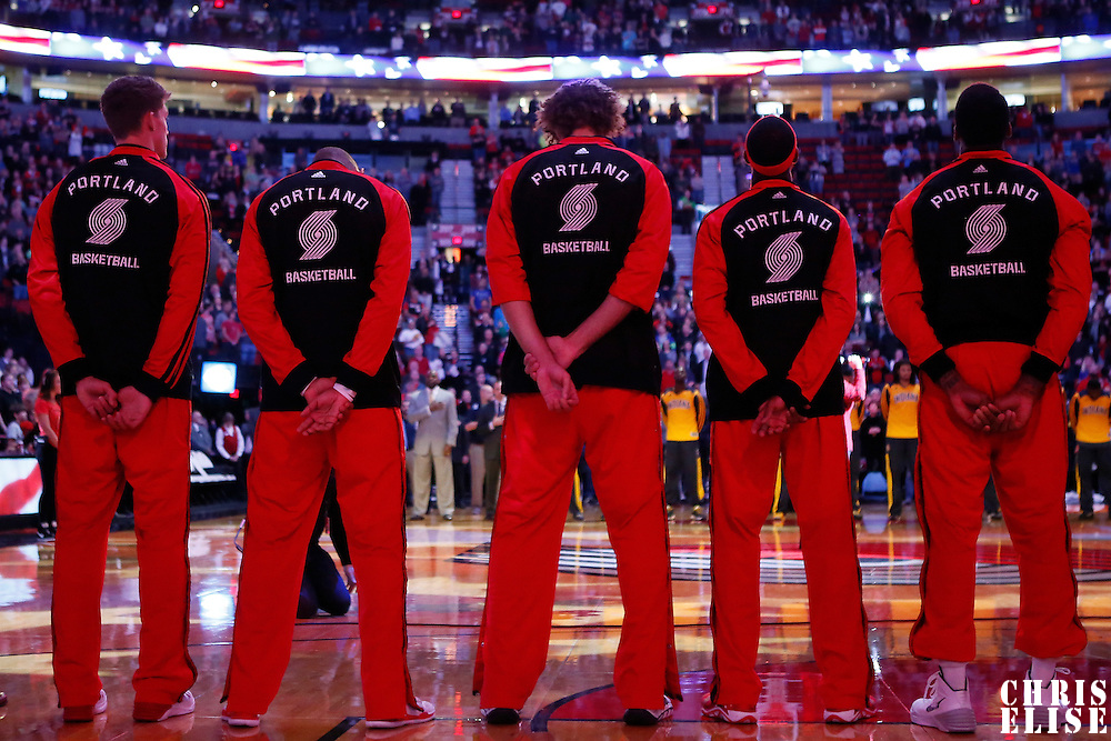 02 December 2013:  Players of the Trail Blazers stand during the National Anthem prior to the Portland Trail Blazers 106-102 victory over the Indiana Pacers at the Moda Center, Portland, Oregon, USA.