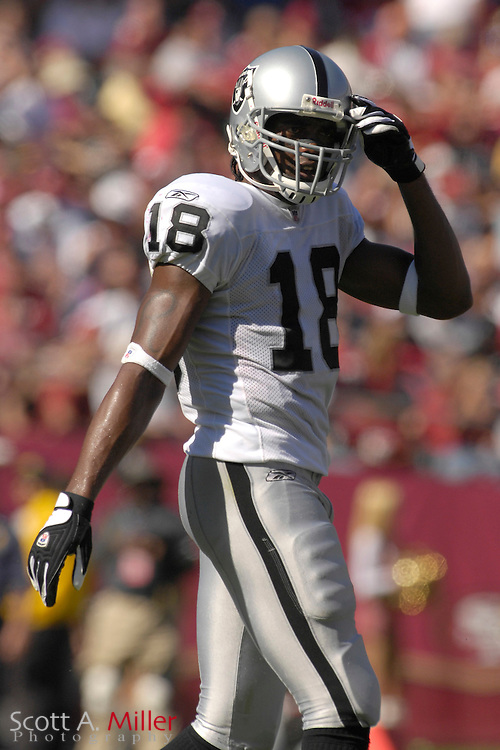 Oakland Raider receiver Randy Moss  (18) during the Raiders game against the San Francisco 49ers at Monster Park on Oct. 8, 2006 in San Francisco......©2006 Scott A. Miller